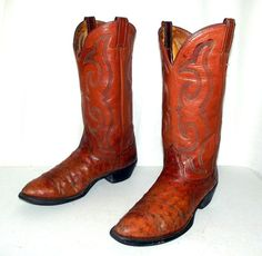 Nocona Ostrich leather distressed Cowboy by honeyblossomstudio