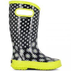 GIRLS BOGS BLACK RAIN BOOT WELLINGTON RUBBER FLEXIBLE WELLIES BOOTS KIDS 71322 - Wellies - Kids