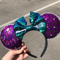 Little Mermaid ears Minnie Mouse Ears Ariel Mickey Ears Little Mermaid Minnie Ears, Disney Minnie Mouse Ears, Diy Disney Ears, Disney Diy, The Little Mermaid, Mermaid Disney, Disney Fanatic, Disney Facts, Ariel