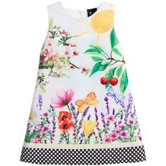 Girls pretty satin feel, garden scene dress by Love Made Love. In a sleeveless A-line style, it has a black and white spotted hem, with a concealed zip fastener on the back and a smooth cotton lining. The stunning print features flowers, butterflies and cherries, decorated with hand-sewn sequins and beads.   Model: Height 122cm (average 7 years) Size of dress shown in the photo: 6-7 years