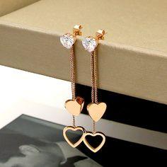 New fashion crystal peach heart tassel long double earrings helix titanium steel rose gold heart-shaped earrings jewelry wholesa Jewelry Design Earrings, Ear Jewelry, Cute Earrings, Cute Jewelry, Jewelery, Jewelry Accessories, Fancy Jewellery, Stylish Jewelry, Fashion Jewelry