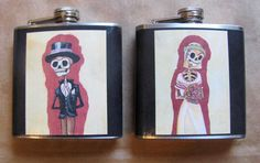 Wedding Flask Set  Day of the Dead Bride and Groom by theflaskshop, $28.00