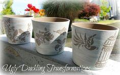 Milk Paint Stenciled Pots