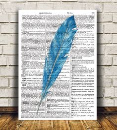 Watercolor print Feather art Bird poster by OneDictionary on Etsy