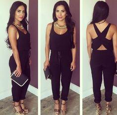 Black romper Black Romper, Capri Pants, Jumpsuit, Rompers, Outfits, Dresses, Fashion, Overalls, Vestidos