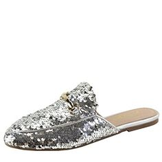 Bella Marie Womens Almond Toe Sequin Horsebit Slip On Slide Oxford Loafer  Mules Flat Slipper Shoes