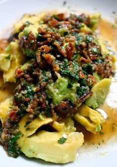 Avocado with Warm Bacon Cilantro Dressing ~ 4 slices bacon, 2 firm-ripe avocados (cut into 4 to 6 wedges), 3 garlic cloves (mince), 1/4 C water, 2 T lime juice, 1 1/2 t sugar, Kosher salt, pepper, 2 T cilantro