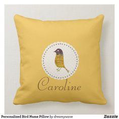 Personalized Bird Name Pillow Playroom Decor, Nursery Decor, Custom Pillows, Keep It Cleaner, Kids Fashion, Baby Shower, Throw Pillows, Make It Yourself, Bird