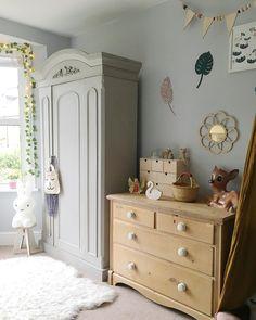 Vintage inspired girls grey bedroom with botanical style decor
