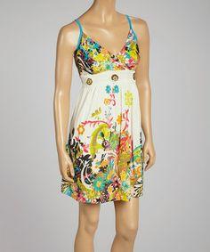 Look what I found on #zulily! Floral Empire-Waist Sleeveless Dress by Magic #zulilyfinds