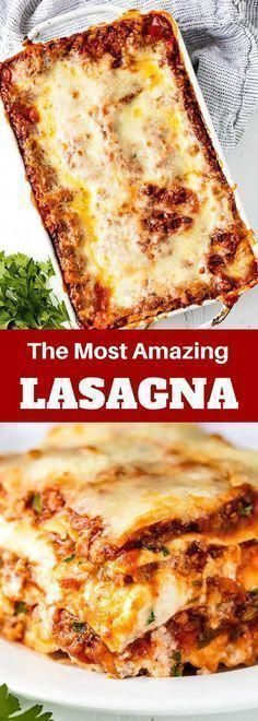 The Most Amazing Lasagna Recipe is the best recipe for homemade Italian-style lasagna. The balance between layers of cheese, noodles, and homemade bolognese sauce is perfection! food recipes The Most Amazing Lasagna Recipe Homemade Bolognese Sauce, Homemade Lasagna Noodles, Best Bolognese Sauce, Beef Recipes, Cooking Recipes, Cooking Pork, Family Recipes, Food52 Recipes, Chicken Recipes