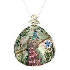 One-of-a-kind Michael Valitutti Palladium Silver Painted Mother-of-pearl Shell and White Zircon Peacock Pendant (18), Green, Size 18 Inch