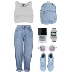 Denim by ashleyxx666 on Polyvore featuring Topshop, adidas, American Apparel, Casio and Butter London