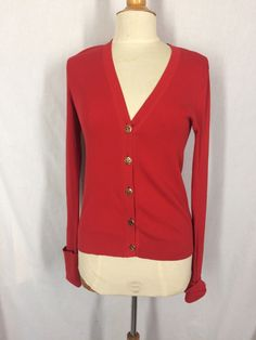 Tory Burch Red 100% Cotton Cardigan Sweater Medium Gold Buttons Long Sleeves