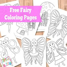 """Fairy Coloring Pages"" Easy, medium and hard pictures for kids to be download via itsybitsyfun.com"