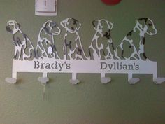 Dog Coat rack with names measures 4 ft. wide starts at $140.00. Can be made larger and powder coated any color