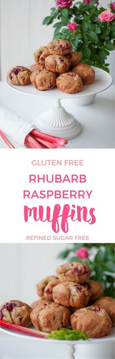Gluten and refined sugar free rhubarb raspberry muffins baked with the fail-proof gluten free muffin formula.