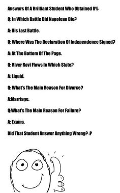 Answers of a brilliant student