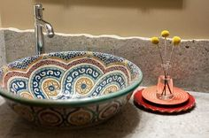 I love this Moroccan pottery sink. Moroccan Bathroom, Moroccan Home Decor, Moroccan Style, Bowl Sink, Vessel Sink, Beautiful Bathrooms, Bathroom Inspiration, Bathroom Ideas, Interior And Exterior