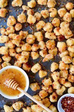 Baked Popcorn Chicken with Honey-Garlic Glaze | Just a Taste