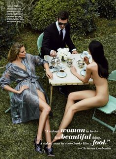 naked lunch: cora emmanuel, eniko mihalik and maria flavia by patrick demarchelier