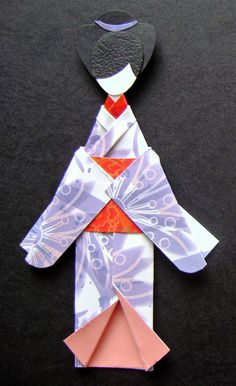 Purple Floral Japanese Origami Kimono Doll Bookmark Asian Oriental Birthday Gifts Handmade OOAK