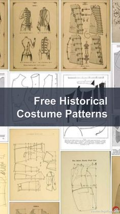 Historical Costume Patterns: A list of free historical costume patterns including medieval, Elizabethan and Victorian patterns. Sewing Hacks, Sewing Tutorials, Sewing Crafts, Sewing Projects, Techniques Couture, Sewing Techniques, Vintage Patterns, Vintage Sewing, Clothing Patterns