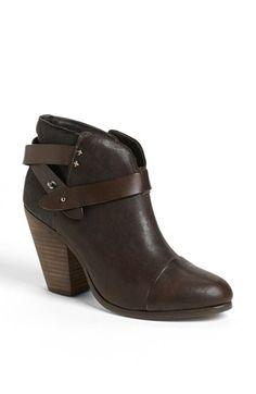 rag & bone 'Harrow' Leather Boot Pushpin hardware modernizes a rustic, cap-toe bootie cut from soft nubuck.