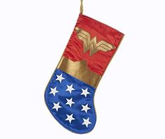 Kurt Adler Wonder Woman Logo Applique Christmas Stocking * Click on the image for additional details. (This is an affiliate link)