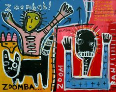 original HUGHART outsider punk art graffiti Baquiat inspired painting = ZOOMBAH! #OutsiderArt
