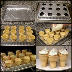 wish I would have known this when Erin was in school! How to make Ice cream cone Cup cakes :)