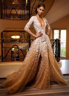 champagne Long sleeve Mermaid Wedding dresses With Detachable Overskirts Sexy Deep V-Neck Bridal dresses African Luxury Gelinlik Trendy Dresses, Nice Dresses, Fashion Dresses, Prom Long, Formal Prom, Bridal Dresses, Prom Dresses, Formal Dresses, Dress Prom