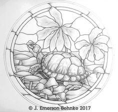 Tortuga y setas vidrieras patrón 17,5. 2 impresiones