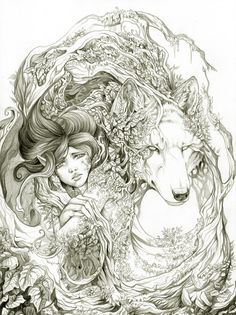 Spirit Animal Tattoo, Wolf Spirit Animal, Animal Tattoos, Link Lobo, Illustrations, Illustration Art, Werewolf, Les Oeuvres, Amazing Art