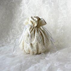 Cream white lace floral pattern pompadour purse evening handbag wristlet drawstring reticule by AlicesLittleRabbit on Etsy