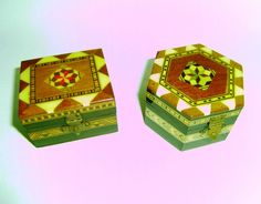 wooden wear inlaid jewellery boxes two small one square the other hexagon shape