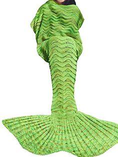 LAGHCAT Mermaid Tail Blanket Knit Crochet Mermaid Blanket for Adult, Oversized Sleeping Blanket, Wave Pattern x Inch, Mint Green) Knitted Mermaid Tail Blanket, Mermaid Blankets, Blanket Crochet, Crochet Mermaid Tail Pattern, Manta Polar, Mermaid Tails, Mermaid Fin, Mermaid Room, Wave Pattern