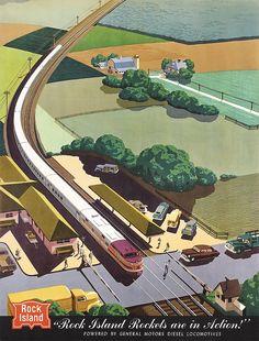 Original 1950s BERN HILL Rail Travel Poster Rock Island