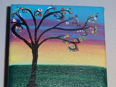 Whimisical tree landscape abstract painting on 4x4 by ArtWorkbyM, $14.00
