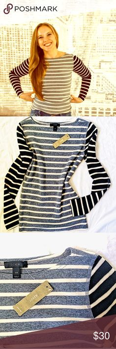 NWT Striped Cotton J Crew Long Sleeved Tee Two-toned long sleeved tee in thick cotton. This thing HUGS. THOSE. CURVES and I'm talking myself out of keeping it for that reason 😂 J. Crew Tops Tees - Long Sleeve
