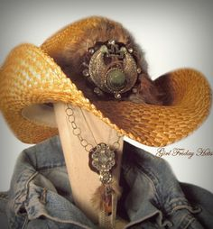 Cowboy Cowgirl Hat. Southwestern Embellished Straw Cowgirl Hat & Necklace. $125.00, via Etsy.