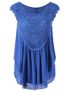 Lace Trim Layered Crinkle Blouse - MEDIUM BLUE L