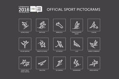 Official sport pictograms for Lillehammer 2016 Youth Olympic games. By Ferskvann.no / Graphic designer I.E. Syverinsen.