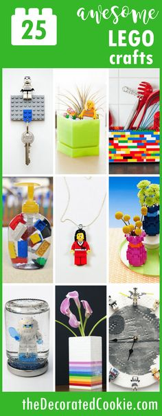 25 awesome LEGO crafts -- upcycled legos -- fun LEGO crafts for kids and adults -- home decor, games, and accessories