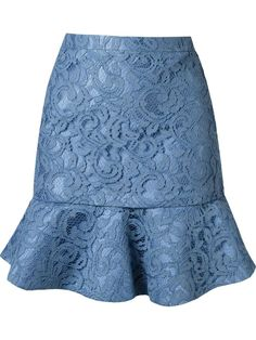 MARTHA MADEIROS Ruffled Hem Marescot Lace Skirt Blue $1495 Available at AVAILABLE FROM ANNE'S AT TRUMP NEW YORK http://www.annesofnewyork.com/products/martha-madeiros-ruffled-hem-marescot-lace-skirt-blue-1495.html