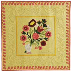 """A Bouquet for You"" (33"" x 33"") by Sue Nickels, Ann Arbor, MI. 2011 AAQI auction, posted at See How We Sew"