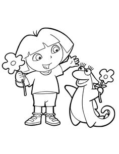 This page has free dora the explorer coloring pages for kids,parents and teachers. Dora Coloring, Bunny Coloring Pages, Cartoon Coloring Pages, Coloring Pages To Print, Free Printable Coloring Pages, Coloring For Kids, Coloring Pages For Kids, Adult Coloring, Coloring Books