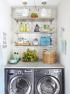 Just because you have a small laundry room doesn't mean it can't be packed with pretty storage and tons of organization. Check out this tiny apartment-size laundry room and all the stylish flea market storage bins and cute signs to make doing laundry a l Small Space Laundry Room Storage, Laundry Nook, Laundry Closet, Small Laundry Rooms, Laundry Room Organization, Laundry Room Design, Laundry In Bathroom, Organization Ideas, Laundry Storage
