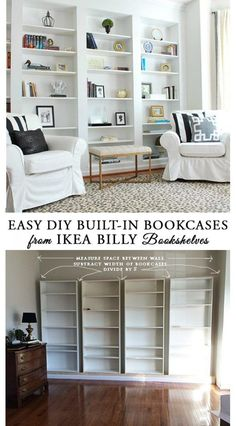 to easily DIY built-in bookcases from IKEA Billy book shelves, and easy IKEA hack you can do in a weekend.How to easily DIY built-in bookcases from IKEA Billy book shelves, and easy IKEA hack you can do in a weekend. Bookshelves Built In, Billy Bookcases, Ikea Billy Bookcase Hack, Diy Built In Shelves, Ikea Built In, Ikea Book Shelves, Ikea Shelving Hack, Ikea Storage, Ikea Living Room Storage