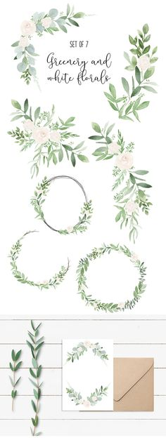 Greenery and white flowers, perfect for wedding invitations, valentines day etc.!!